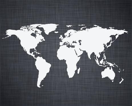 White world map.