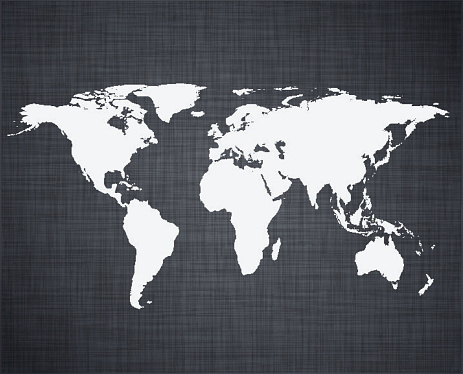 High-detailed world map over linen texture. Vector eps10. Different blending modes were used.