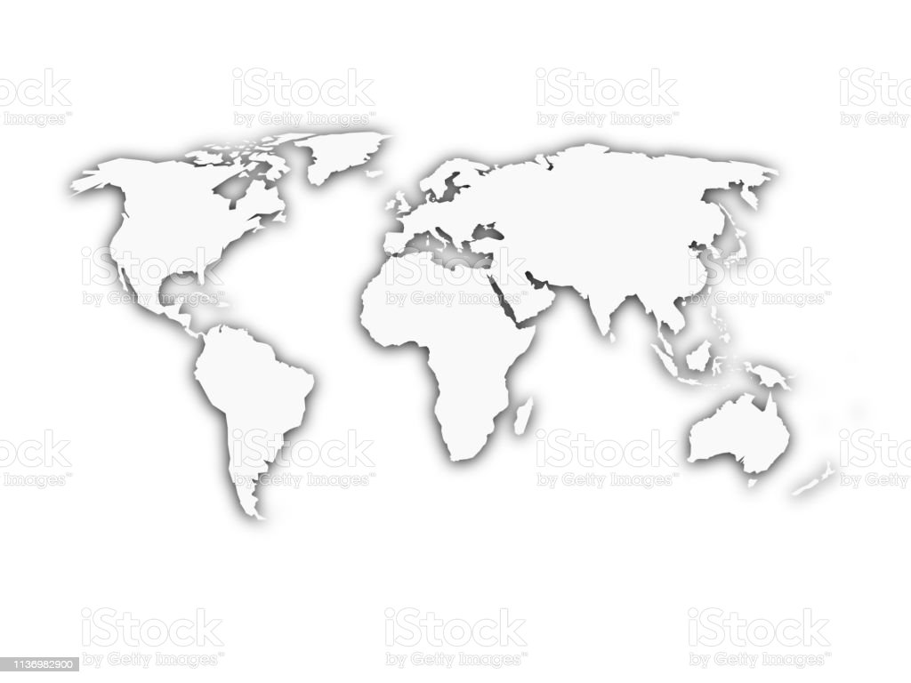 White World Map With Shadow Silhouette Stock Illustration - Download Image  Now