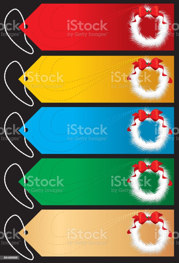 White Wreath Christmas Tags royalty-free white wreath christmas tags stock vector art & more images of blue
