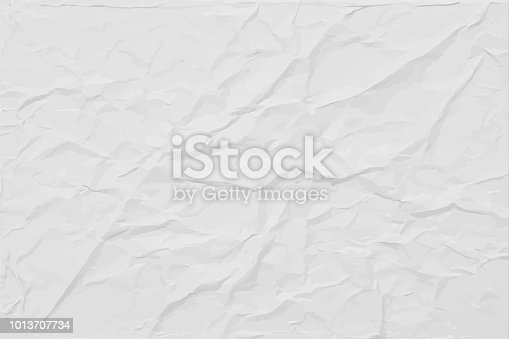 White wrinkled paper texture, abstract light vector background