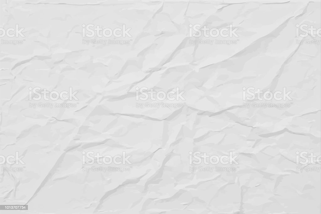White wrinkled paper texture, abstract light vector background vector art illustration