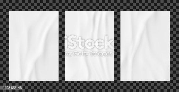 White wrinkled poster template set. Glued paper vector mockup