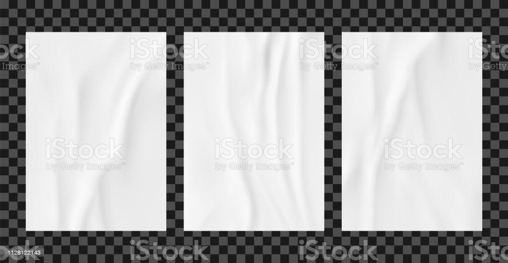 White wrinkled poster template set. Glued paper vector mockup. vector art illustration