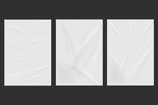 White wrinkled poster template set isolated on background. Vector illustration.