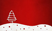 White Christmas tree standing over a white snow red dotted wave. Over bright maroon red coloured gradient effect textured grunge vector background. The tree is made up of geometrical figures, trapezium and triangle. The top crest, tip of the tree is a triangle. The tree stroke is white and the fill is dark bright red wooden. The tree is towards the left in the frame and stands over a white heap of snow ground. It has small bubbles shaped circles in red all over. Can be used as Xmas background, celebration and Christmas/ New Year wallpaper, or a Christmas greeting card, poster. Copy space. The stroke is brush paint effect. The ground is a wave of troughs and crests. The dots over the snow are of different varying sizes and randomly placed. vignetting