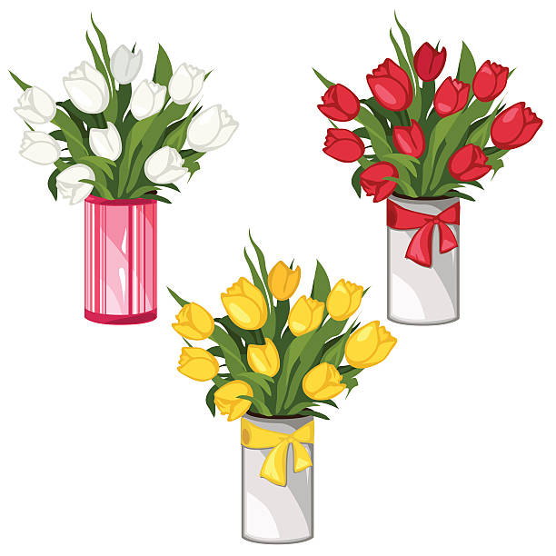 Royalty Free Tulips In Vase Clip Art Vector Images Illustrations