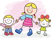 white young mother and kids cartoon illustration