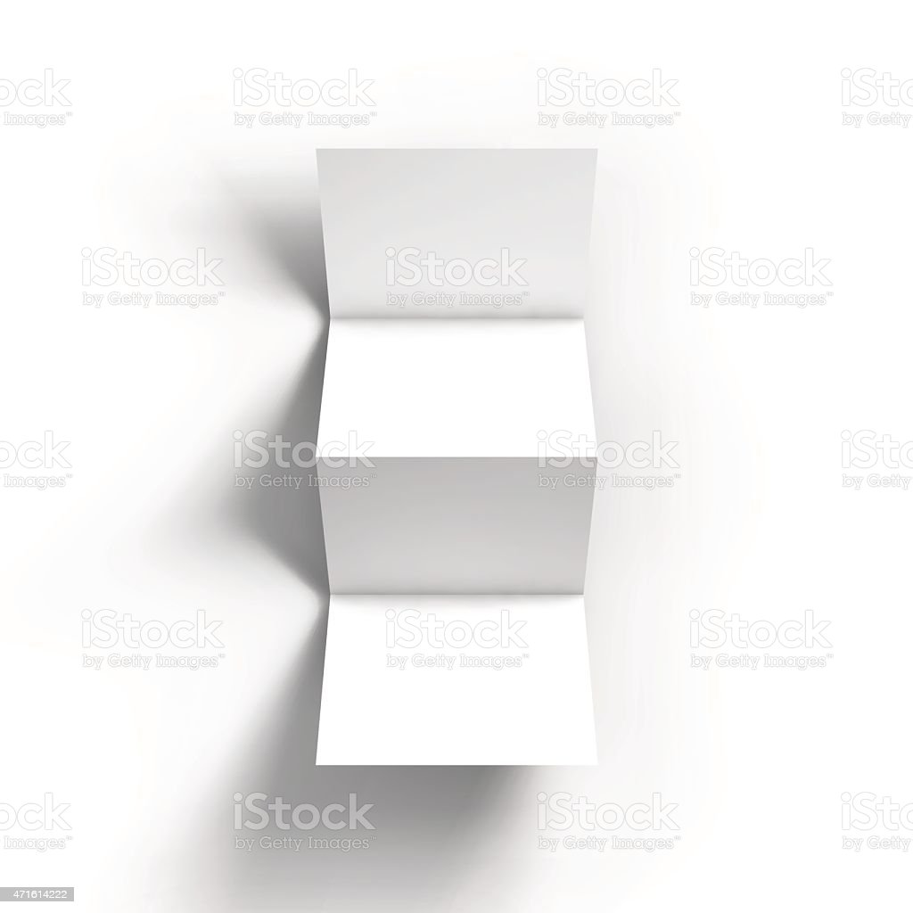 White zigzag four-fold brochure mockup template vector art illustration