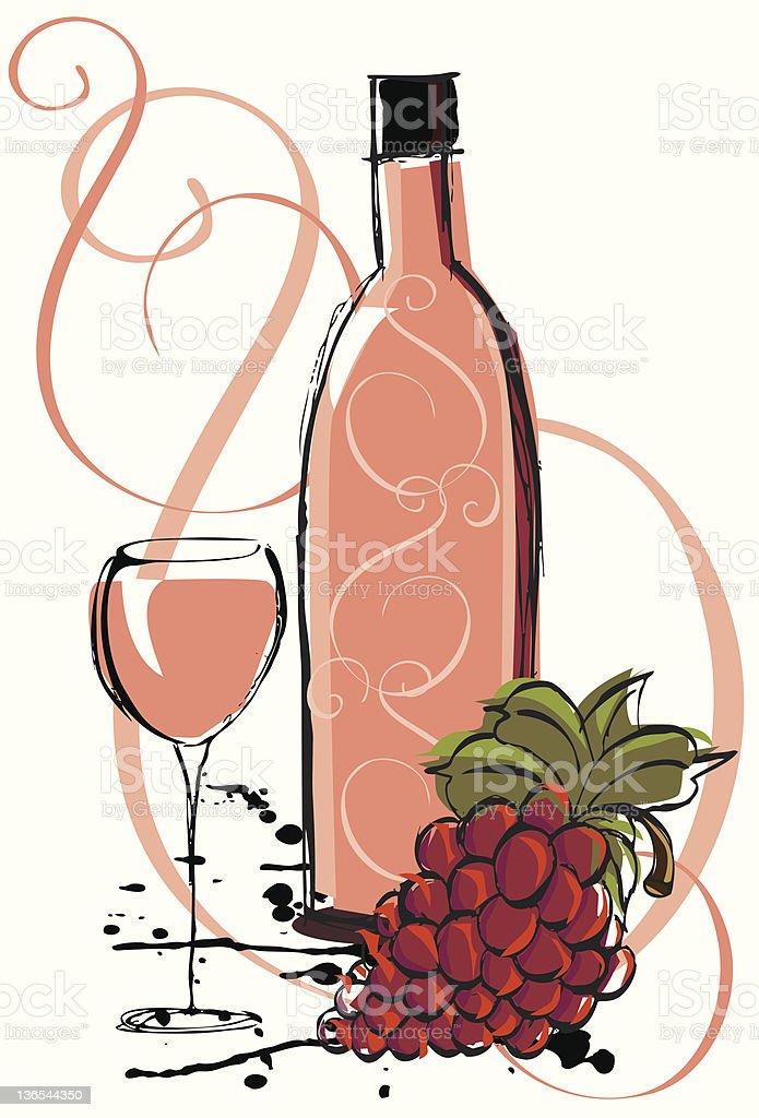 White zinfandel wine royalty-free stock vector art