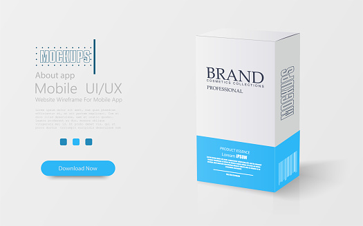 White-blue pills box. Box mock-up. Medical blank cardboard. Mockup. Card box packaging. 3D illustration. Mockup template ready for your design.