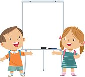 Vector whiteboard and kids