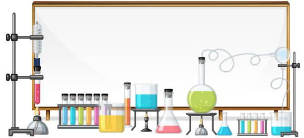 whiteboard und labortechnik - becherglas stock-grafiken, -clipart, -cartoons und -symbole