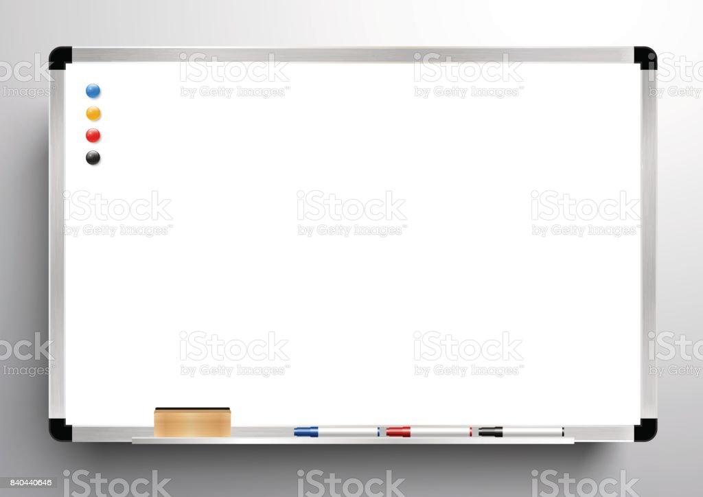 Tableau blanc de fond cadre, tableau blanc gomme, marqueurs de couleur et vecteur magnétique, - Illustration vectorielle