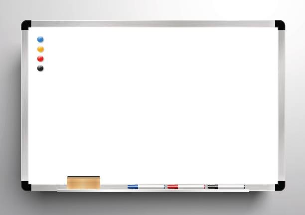 whiteboard background frame, eraser whiteboard, color marker and magnetic, vector - classroom stock illustrations, clip art, cartoons, & icons