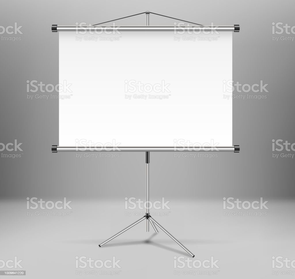 whiteboard projector presentation screen isolated white empty screen