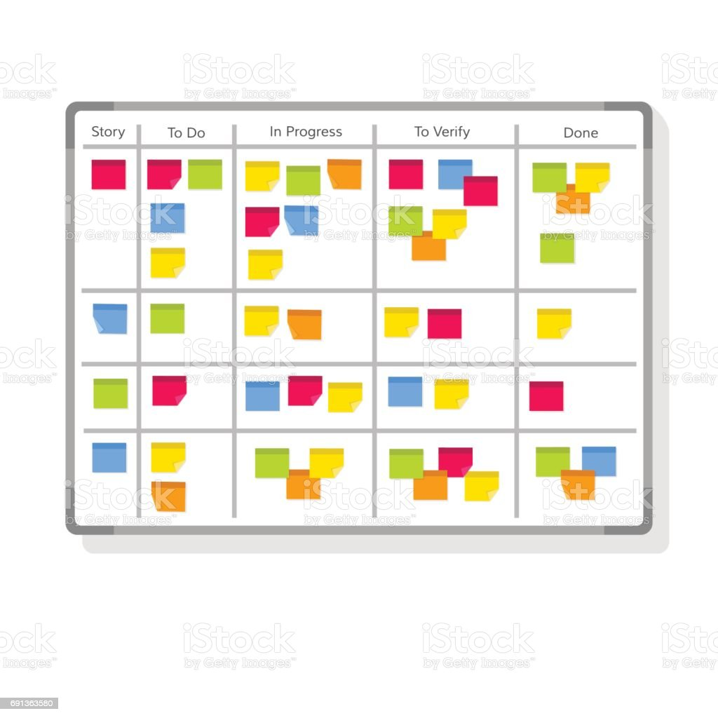Whiteboard with post it notes for agile software development. Hanging scrum task kanban board with sticky notes with tasks for team work and visual management. Flat style vector illustration. vector art illustration