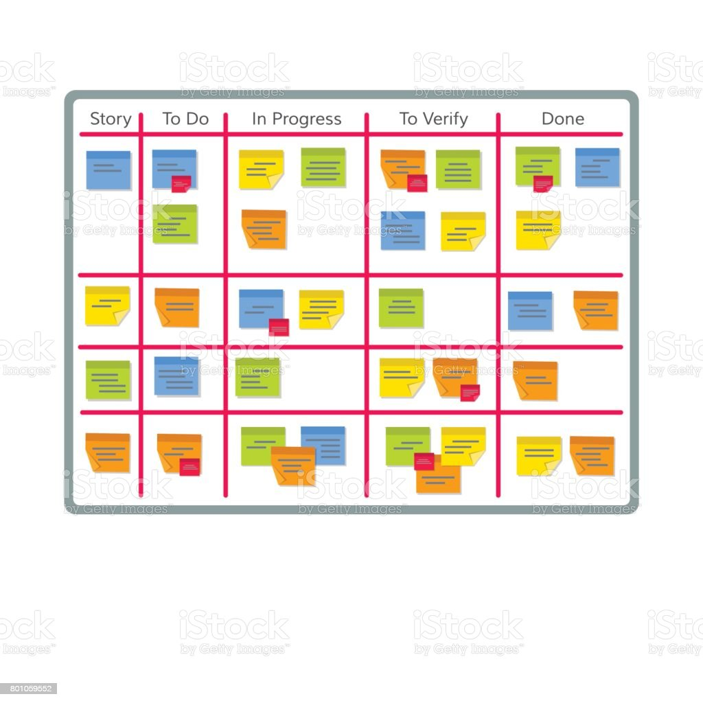 Whiteboard with post it notes for agile software development. Hanging scrum task kanban board with sticky notes with tasks for team work and visual management. Flat style EPS10 vector illustration. vector art illustration