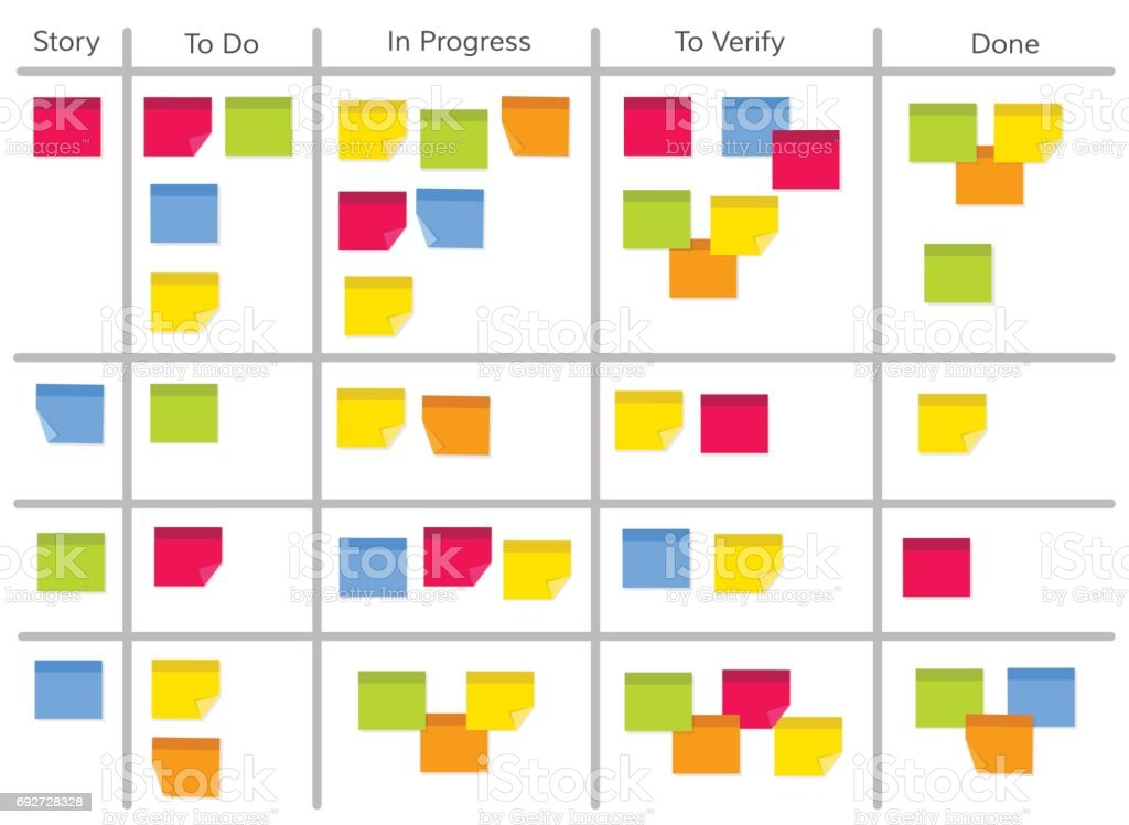 Whiteboard with post it notes for agile software development. Scrum task kanban board with sticky notes with tasks for team work and visual management. Flat style vector illustration. vector art illustration
