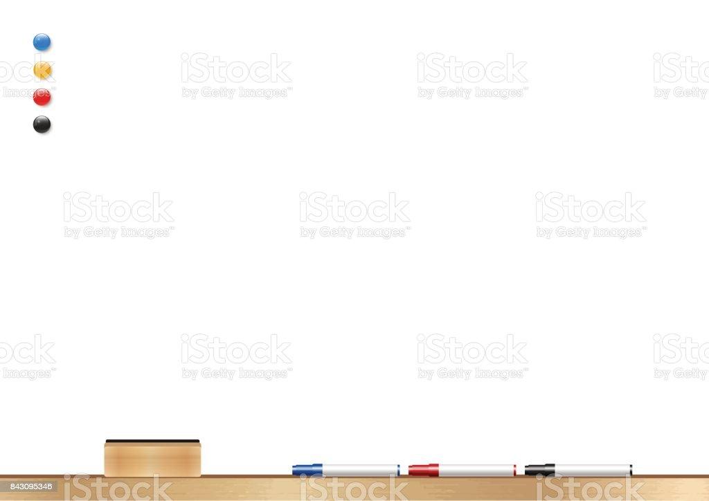 Whiteboard Wooden Frame Eraser Whiteboard Marker And Magnetic Vector ...