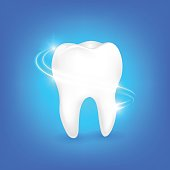 Deep cleaning, dental care concept. Icon design, Illustration on blue background.
