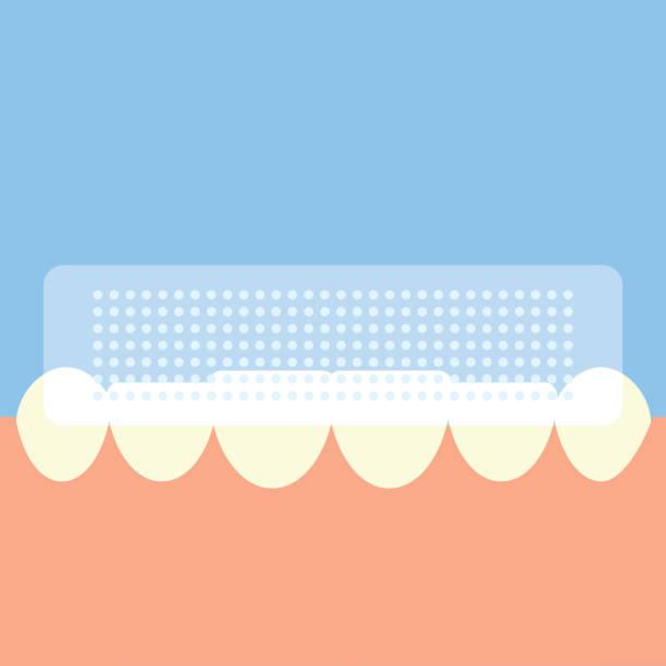 bildbanksillustrationer, clip art samt tecknat material och ikoner med whitening strips for teeth . flat design - tandblekning