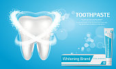 Whitening toothpaste ad. Big healthy tooth on blue background with aroma of mint toothpaste, and protection from caries. Concept of healthy teeth.