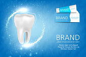 Whitening toothpaste ad. Graphic concept for your design