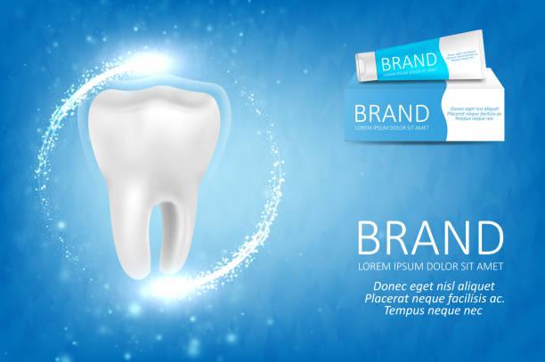 bildbanksillustrationer, clip art samt tecknat material och ikoner med whitening tandkräm ad - tandblekning