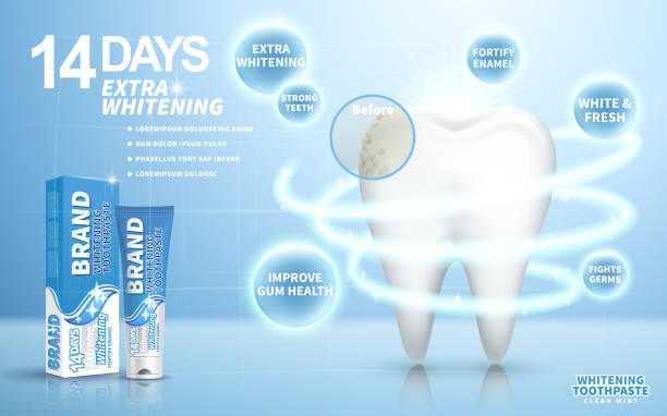 bildbanksillustrationer, clip art samt tecknat material och ikoner med whitening toothpaste ad - tandblekning