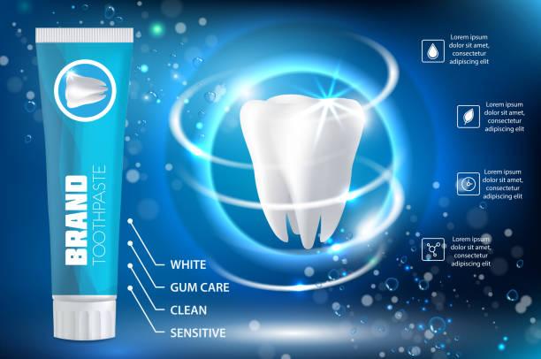 bildbanksillustrationer, clip art samt tecknat material och ikoner med whitening tandkräm ad realistiska vektorillustration - tandblekning