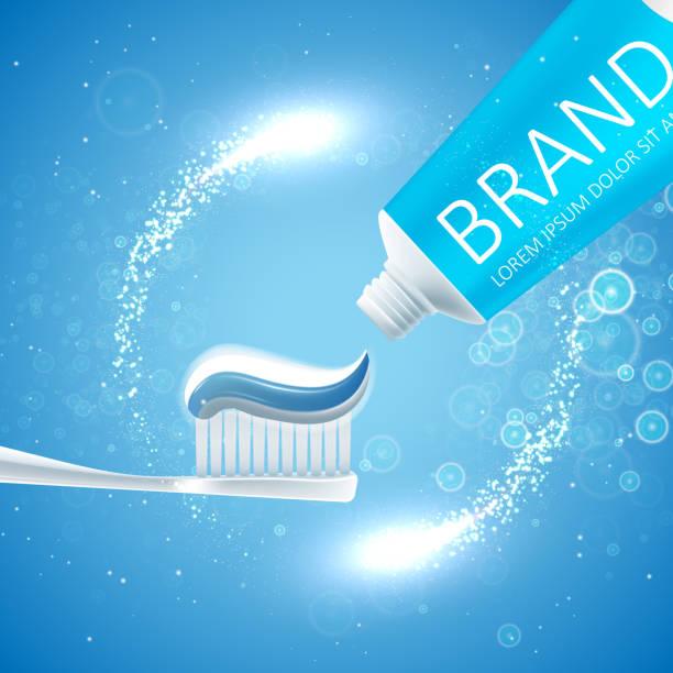 bildbanksillustrationer, clip art samt tecknat material och ikoner med whitening tandkräm annonser - tandblekning