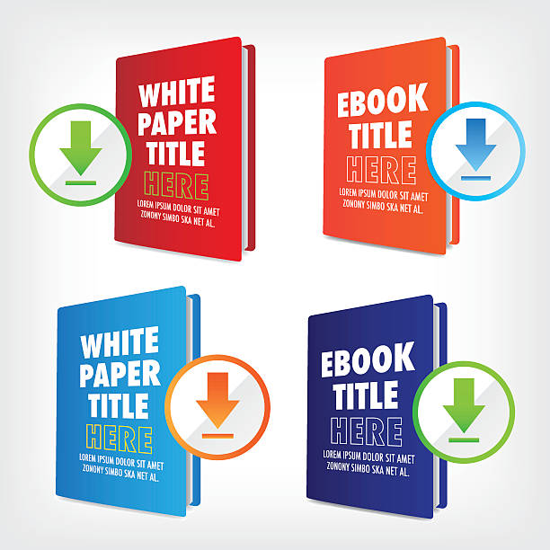 Whitepaper and Ebook Graphics Whitepaper and Ebook Image with download button e reader stock illustrations