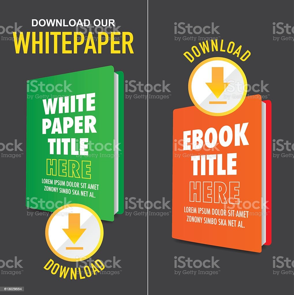 Whitepaper Graphics with Title, Cover, and Call to Action Buttons vector art illustration