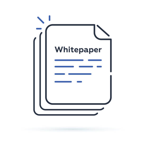 Whitepaper icon, ICO main investment document, company strategy, brief, development product plan. Whitepaper icon, ICO main investment document, company strategy, brief, development product plan. Flat outline modern vector illustration. Paper sheet or blank symbol. Business briefcase initial coin offering stock illustrations