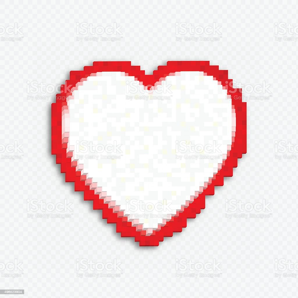 Whitered Heart Made Of 3d Cubes Pixel Art Style Stock