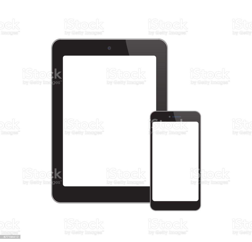 White-Screen-Phone-Tablet vector art illustration