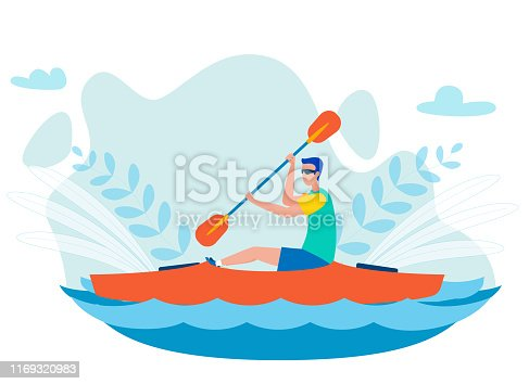 Whitewater Kayaking Sport Flat Vector Illustration. Man Sitting in Kayak Alone and Paddling. Canoeing Water Sport Competition, Extreme Hobby and Leisure Activity. Male Rower Cartoon Character