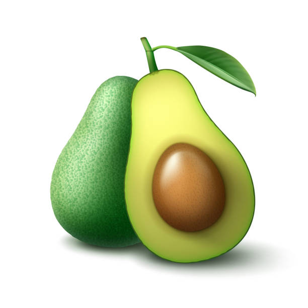 illustrazioni stock, clip art, cartoni animati e icone di tendenza di whole and half cut avocado - avocado