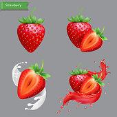 Whole and slice strawberry set, strawberry in juice realistic splash, sweet fruit milk or yogurt collection