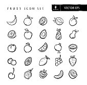Vector illustration of a set of fruit icons. Includes hand drawn banana, orange, lemon, coconut, plum, kiwi, apple, avocado, pineapple, pear, tomato, peach, watermelon, pomegranate, lime, blueberries, papaya, lemon, grapes, strawberry, cherry, passion fruit, raspberry, cantaloupe and blood orange. Simple set that includes vector eps and high resolution jpg in download.
