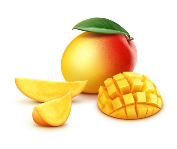ilustraciones, imágenes clip art, dibujos animados e iconos de stock de cubos de mango enteras y en rodajas - mango