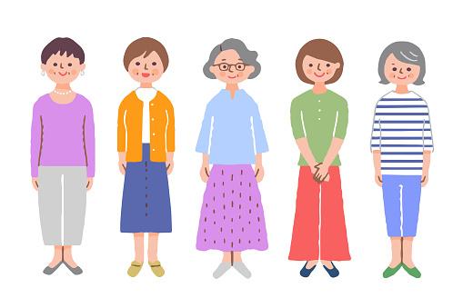 Whole body of 5 senior women