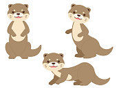 This is a whole body illustration set of three otters.