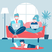 Whole family working on laptops sitting on a sofa. Husband and wife work remotely. Child lying on the floor studying remotely. Trendy home interior. Gadget addiction. Flat vector illustration.