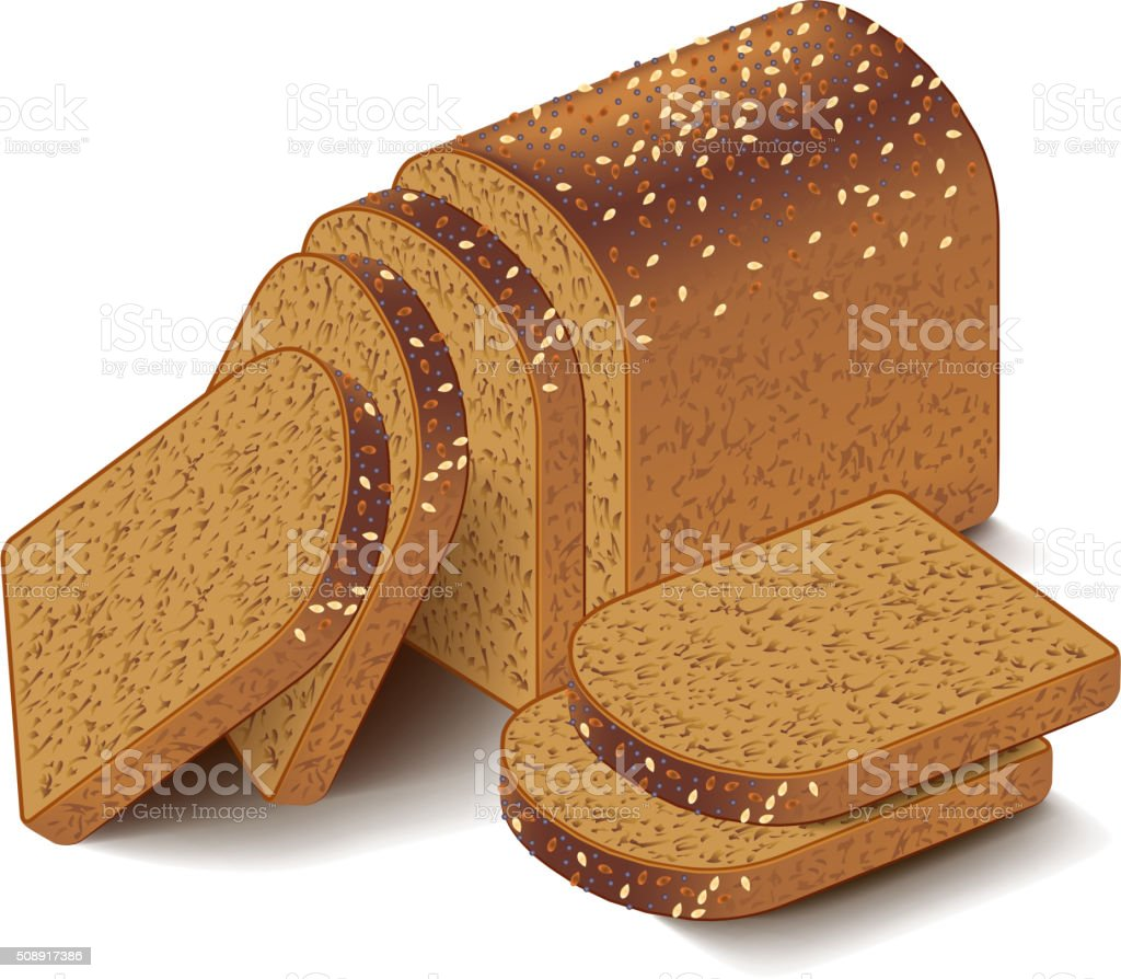 Whole grain sliced bread isolated on white vector vector art illustration