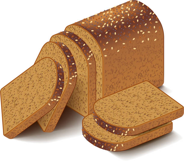 Whole grain sliced bread isolated on white vector Whole grain sliced bread isolated on white photo-realistic vector illustration bread clipart stock illustrations
