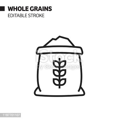 istock Whole Grains Line Icon, Outline Vector Symbol Illustration. Pixel Perfect, Editable Stroke. 1197701107