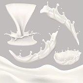 whole milk big set, pouring and splashing milk, glass, carton, jug, bottle