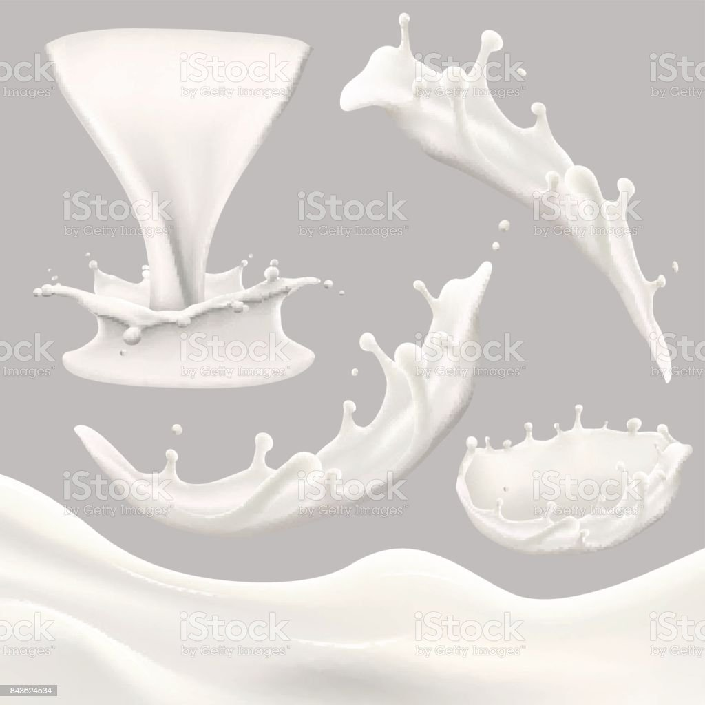 whole milk big set, pouring and splashing milk, glass, carton, jug, bottle vector art illustration